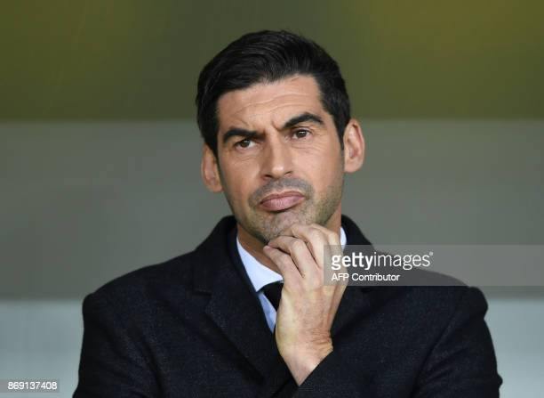 FC Shakhtar coach Paulo Fonseca reacts during the UEFA Champions League Group F football match between FC Shakhtar Donetsk and Feyenoord Rotterdam at...