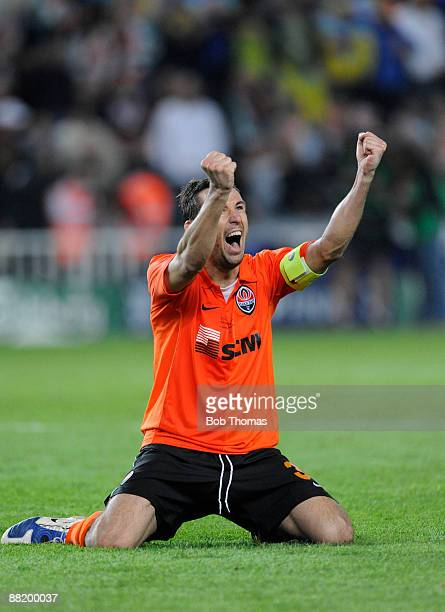 Shakhtar Donetsk captain Darijo Srna celebrates the moment of victory after the UEFA Cup Final between Shakhtar Donetsk and Werder Bremen at the...