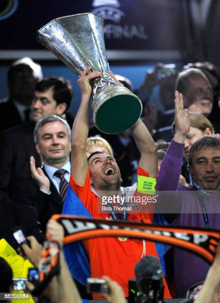 Shakhtar Donetsk captain Darijo Srna celebrates with the trophy after victory in the UEFA Cup Final between Shakhtar Donetsk and Werder Bremen at the...