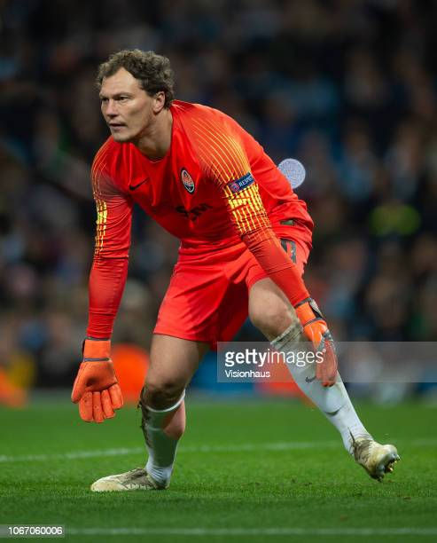 Shakhtar Donetsk goalkeepr Andriy Pyatov during the Group F match of the UEFA Champions League between Manchester City and FC Shakhtar Donetsk at...