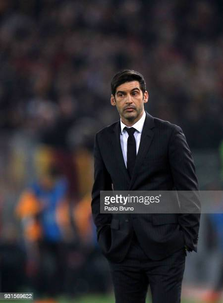 Shakhtar Donetsk head coach Paulo Fonseca looks on during the UEFA Champions League Round of 16 Second Leg match between AS Roma and Shakhtar Donetsk...