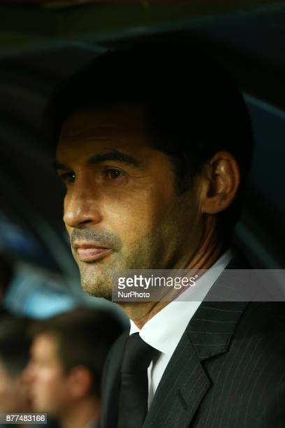 Shakhtar Donetsk manager Paulo Fonseca at San Paolo Stadium in Naples Italy on November 21 during the UEFA Champions League Group F football match...