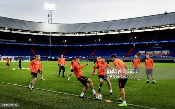 FC Shakhtar Donetsk players attend a training session at De Kuip Stadium in Rotterdam on October 16 2017 on the eve of the UEFA Champions League...