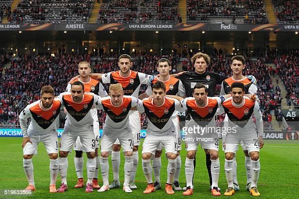 Shakhtar Donetsk players line up prior to the UEFA Europa League Quarter Final first leg match between SC Braga and Shakhtar Donetsk at the Estadio...