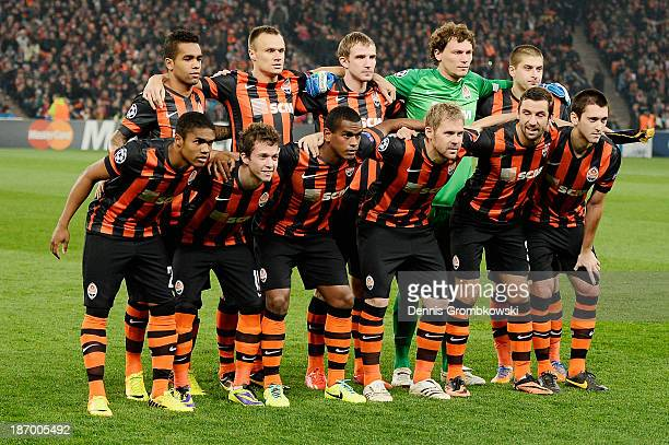 Shakhtar Donetsk players pose during the UEFA Champions League Group A match between Shakhtar Donetsk and Bayer Leverkusen at Donbass Arena on...