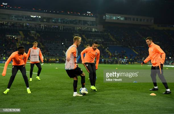 Shakhtar Donetsk players warm up prior to the Group F match of the UEFA Champions League between FC Shakhtar Donetsk and Manchester City at Metalist...