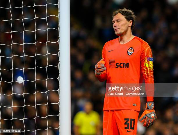 Shakhtar Donetsk's Andriy Pyatov reacts after conceding a fifth goal during the Group F match of the UEFA Champions League between Manchester City...