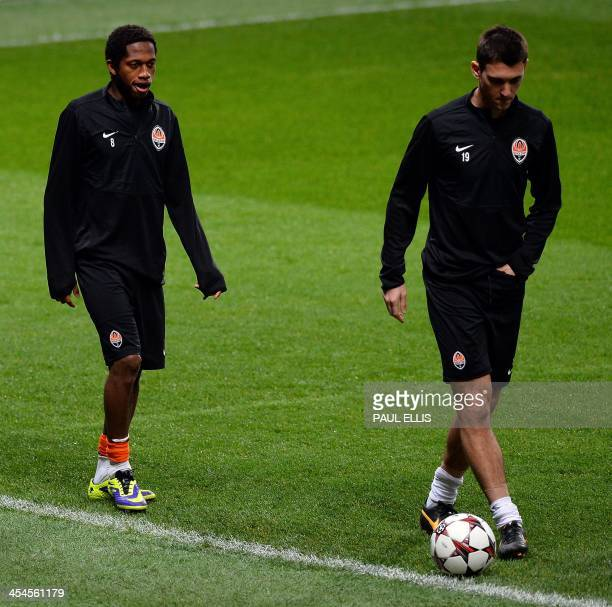 Shakhtar Donetsk's Argentinian forward Facundo Ferreyra and Brazilian midfielder Fred attend a training session at Old Trafford in Manchester north...