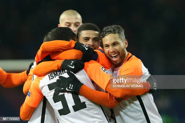 Shakhtar Donetsk's Brazilian defender Ismaily celebrate with his teammates after scoring a goal Shakhtar Donetsk's Brazilian midfielder Taison...