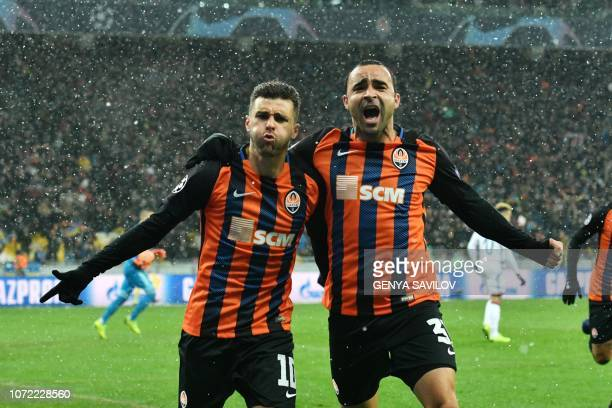Shakhtar Donetsk's Brazilian forward Aluisio Moraes reacts after scoring during the UEFA Champions League Groupe F football match FC Shakhtar Donetsk...
