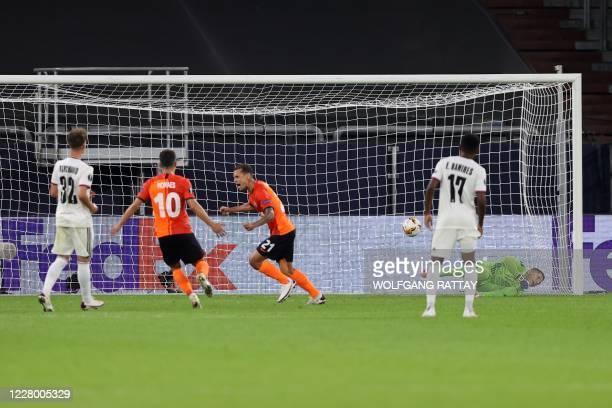 Shakhtar Donetsk's Brazilian midfielder Alan Patrick celebrates after scoring a goal during the UEFA Europa League quarter-final football match...