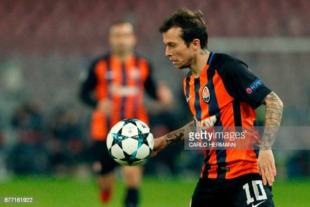 Shakhtar Donetsk's Brazilian midfielder Bernard controls the ball during the UEFA Champions League Group F football match Napoli vs Shakhtar Donetsk...