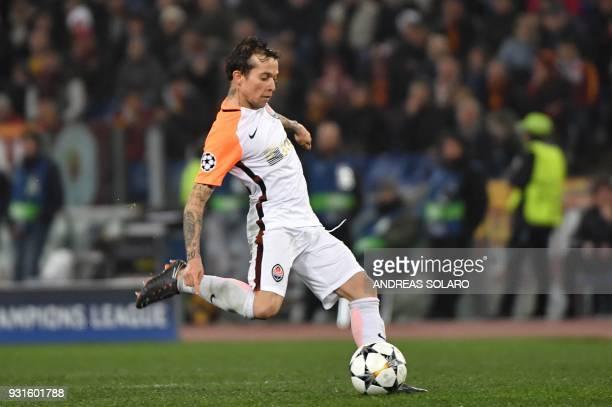 Shakhtar Donetsk's Brazilian midfielder Bernard kicks the ball the UEFA Champions League round of 16 second leg football match AS Roma vs Shakhtar...