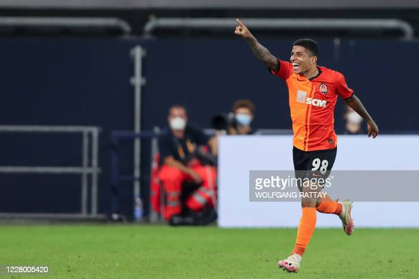 Shakhtar Donetsk's Brazilian midfielder Dodo celebrates after scoring a goal during the UEFA Europa League quarterfinal football match Shakhtar...