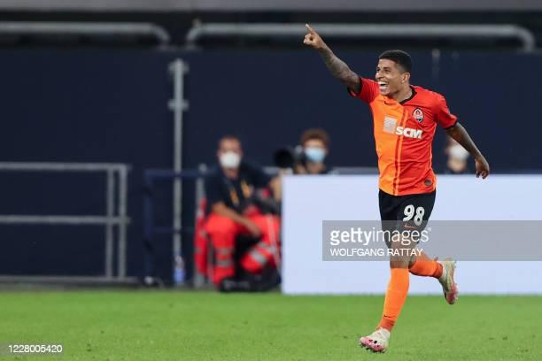 Shakhtar Donetsk's Brazilian midfielder Dodo celebrates after scoring a goal during the UEFA Europa League quarter-final football match Shakhtar...