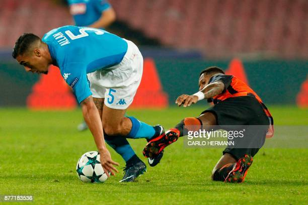 Shakhtar Donetsk's Brazilian midfielder Fred fights for the ball with Napoli's midfielder from Brazil Allan during the UEFA Champions League Group F...
