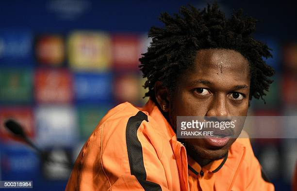 Shakhtar Donetsk's Brazilian midfielder Fred gives a press conference at the Parc des Princes stadium in Paris on December 7 on the eve of the UEFA...