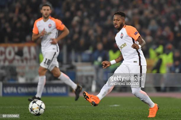 Shakhtar Donetsk's Brazilian midfielder Fred kicks the ball during the UEFA Champions League round of 16 second leg football match AS Roma vs...