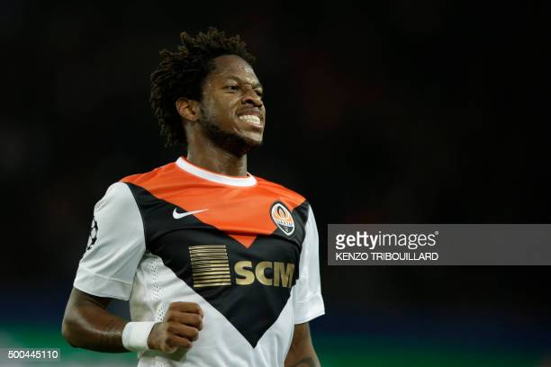 Shakhtar Donetsk's Brazilian midfielder Fred reacts during the UEFA Champions League Group A football match between ParisSaintGermain and Shakhtar...