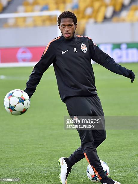 Shakhtar Donetsk's Brazilian midfielder Fred takes part in a training session in Lviv on on February 16 on the eve of the UEFA Champions League round...