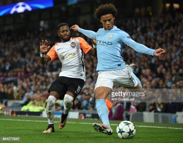 Shakhtar Donetsk's Brazilian midfielder Fred vies with Manchester City's German midfielder Leroy Sane during the Group F football match between...