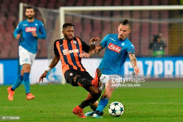 Shakhtar Donetsk's Brazilian midfielder Fred vies with Napoli's midfielder from Slovakia Marek Hamsik during the UEFA Champions League Group F...