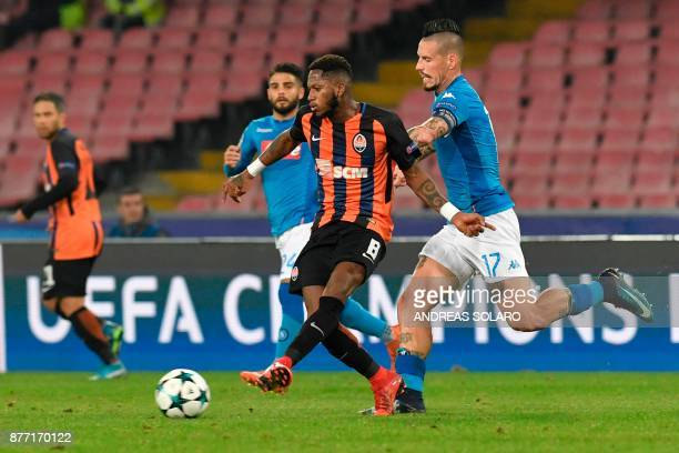 Shakhtar Donetsk's Brazilian midfielder Fred vies with Napoli's midfielder from Italy Lorenzo Insigne and Napoli's midfielder from Slovakia Marek...