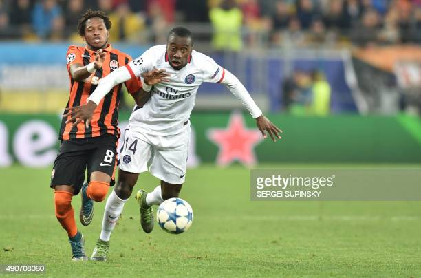 Shakhtar Donetsk's Brazilian midfielder Fred vies with Paris SaintGermain's French midfielder Blaise Matuidi during the UEFA Champions League group A...