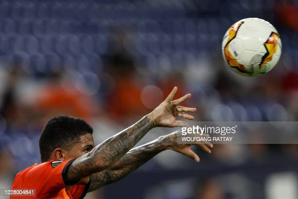 Shakhtar Donetsk's Brazilian midfielder Marcos Antonio clears the ball during the UEFA Europa League quarterfinal football match Shakhtar Donetsk v...