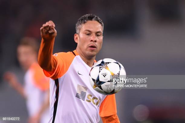 Shakhtar Donetsk's Brazilian midfielder Marlos controls the ball during the UEFA Champions League round of 16 second leg football match AS Roma vs...