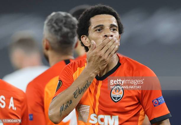 Shakhtar Donetsk's Brazilian midfielder Taison celebrates after scoring a goal during the UEFA Europa League quarterfinal football match Shakhtar...