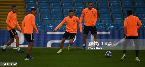 Shakhtar Donetsk's Brazilian striker Aluisio Moraes attends a training session at the Etihad Stadium in Manchester north west England on November 6...