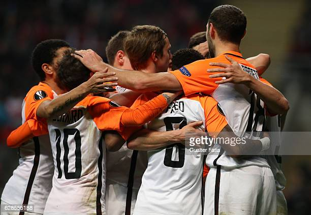 Shakhtar Donetsk's defender Serhiy Kryvtsov celebrates with teammates after scoring a goal during the UEFA Europa League match between SC Braga and...