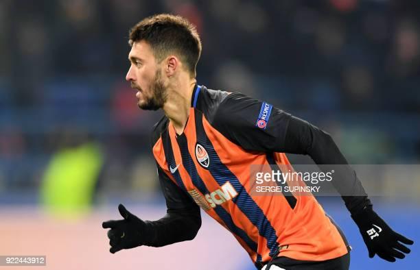 Shakhtar Donetsk's forward Facundo Ferreyra celebrates scoring a goal against Roma's Brazilian goalkeeper Alisson during the UEFA Champions League...
