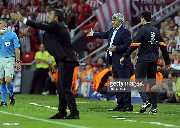 Shakhtar Donetsk's head coach Mircea Lucescu reacts during the UEFA Champions League football match Athletic Club Bilbao vs FC Shakhtar Donetsk at...