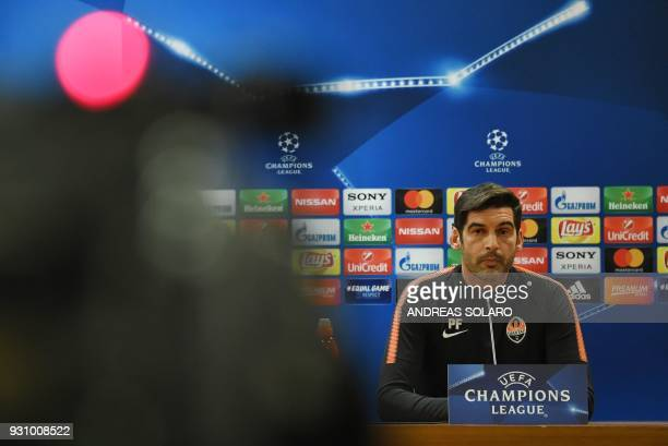 Shakhtar Donetsk's headcoach Paulo Fonseca attends a press conference on the eve of the Champion's League round of 16 secondleg football match AS...