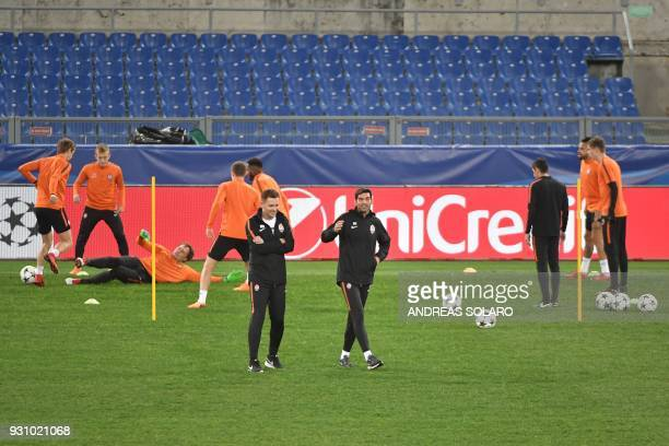 Shakhtar Donetsk's headcoach Paulo Fonseca leads a training session on the eve of the Champion's League round of 16 secondleg football match AS Roma...