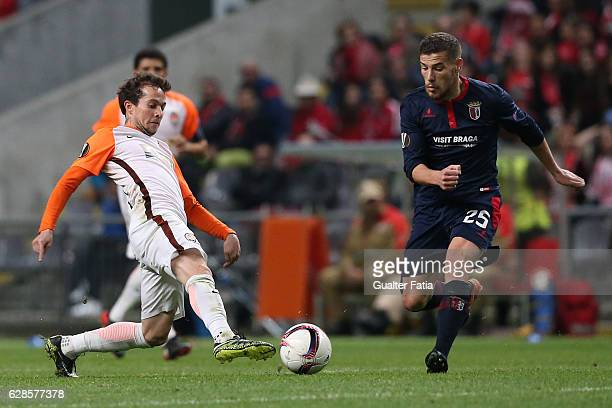 Shakhtar Donetsk's midfielder Bernard with Braga's forward Pedro Tiba from Portugal in action during the UEFA Europa League match between SC Braga...