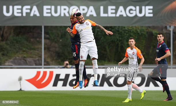 Shakhtar DonetskÕs midfielder Dentinho with Braga's defender Baiano from Brazil in action during the UEFA Europa League match between SC Braga and FC...