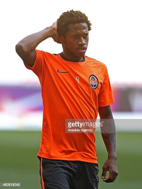Shakhtar Donetsk's midfielder Fred takes part in the team's training session at Lviv Arena on August 04 2015 in Lviv Ukraine Shakhtar Donetsk will...