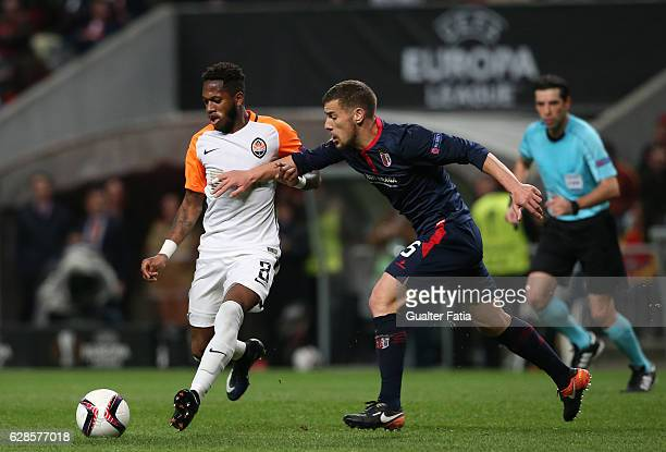 Shakhtar Donetsk's midfielder Fred with Braga's forward Pedro Tiba from Portugal in action during the UEFA Europa League match between SC Braga and...