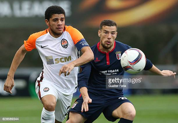 Shakhtar DonetskÕs midfielder Taison with Braga's forward Pedro Tiba from Portugal in action during the UEFA Europa League match between SC Braga and...