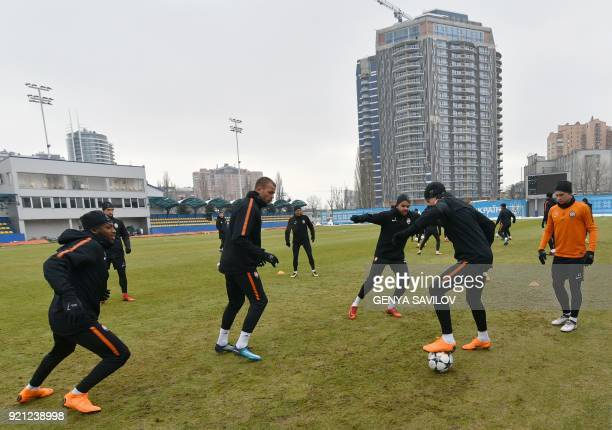Shakhtar Donetsk's players take part in a training session at a training ground in Kiev on February 20 on the eve of the UEFA Champion League...