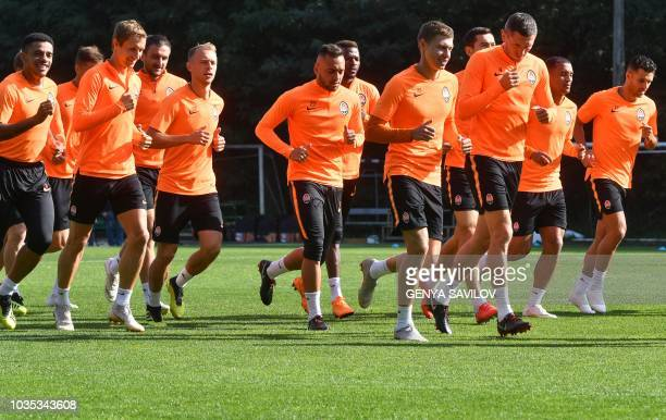 Shakhtar Donetsk's players take part in a training session in Kiev on September 18 a day before the UEFA Champion League football match between...