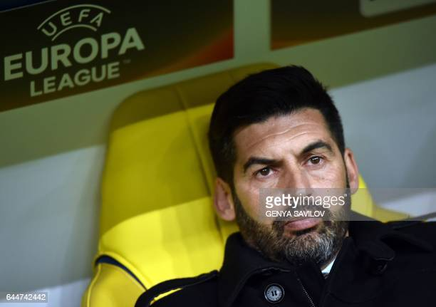 Shakhtar Donetsk's Portuguese head coach Paulo Fonseca looks on during the UEFA Europa League round of 32 2nd leg football match between Shakhtar...