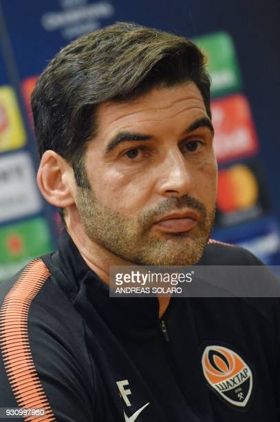 Shakhtar Donetsk's Portuguese headcoach Paulo Fonseca attends a press conference on the eve of the Champion's League round of 16 secondleg football...