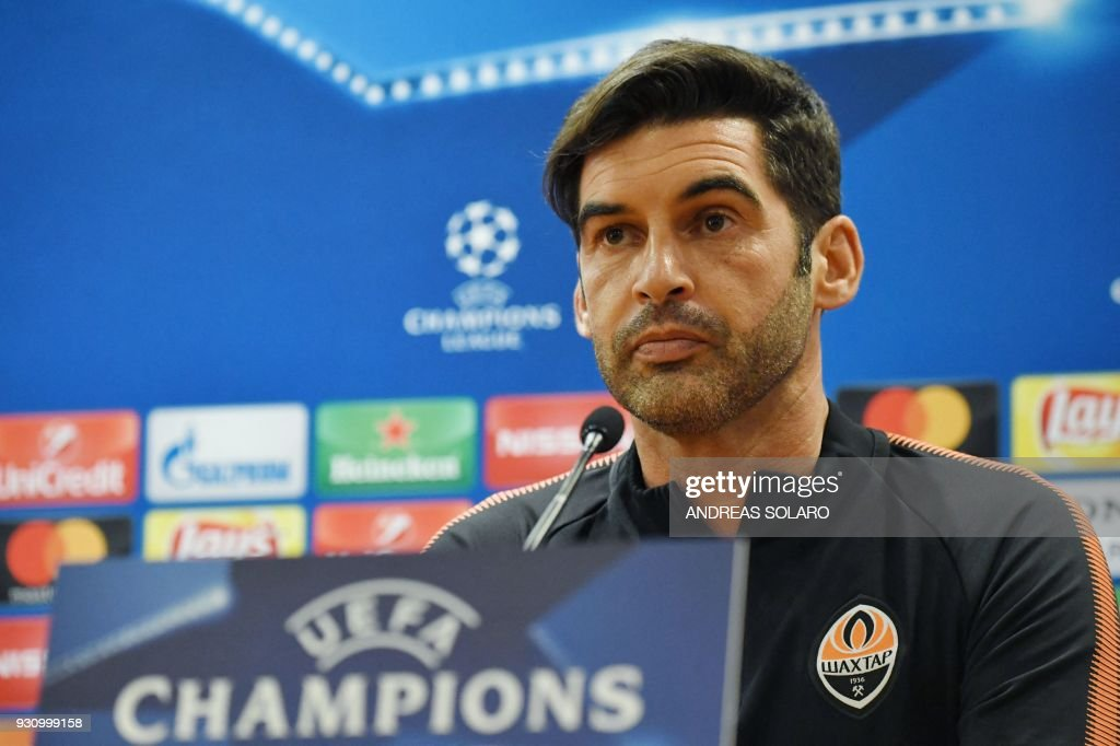 Shakhtar Donetsk's Portuguese headcoach Paulo Fonseca attends a press...  News Photo - Getty Images