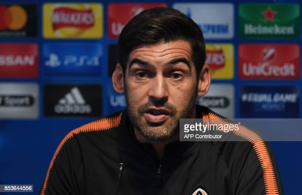 Shakhtar Donetsk's Portuguese manager Paulo Fonseca attends a press conference at the Etihad Stadium in Manchester north west England on September 25...