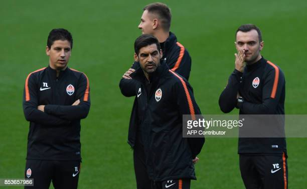 Shakhtar Donetsk's Portuguese manager Paulo Fonseca takes part in a training session at the Etihad Stadium in Manchester north west England on...