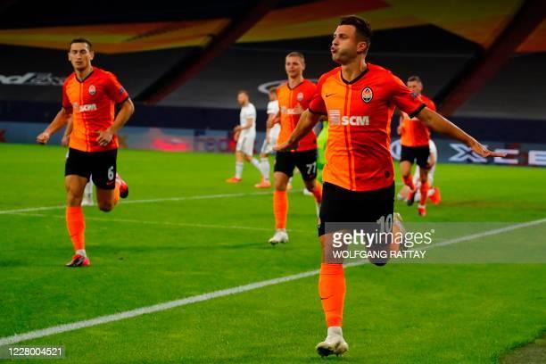 Shakhtar Donetsk's Ukrainian forward Junior Moraes celebrates after scoring a goal during the UEFA Europa League quarter-final football match...